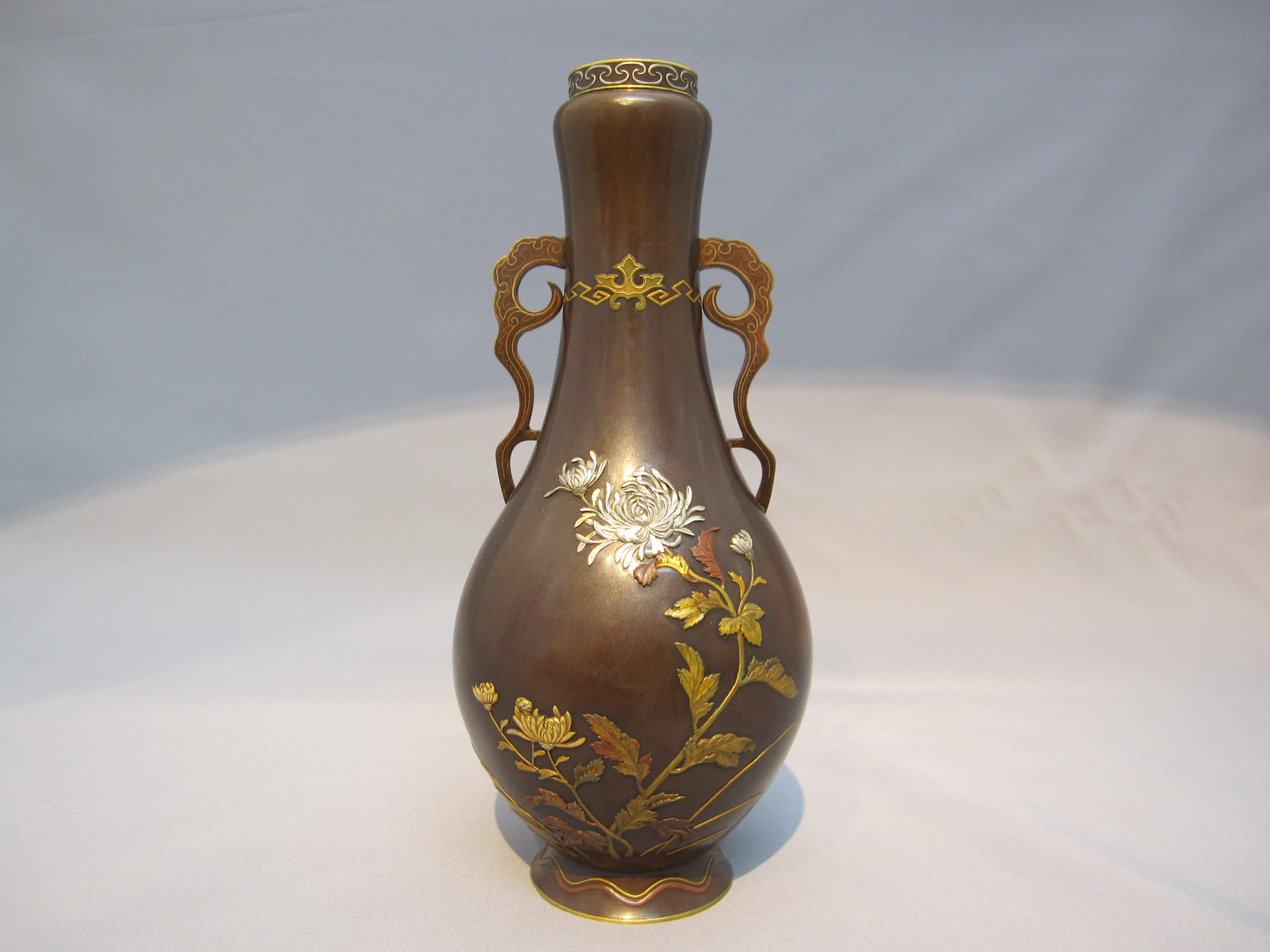 鈴木長吉 菊花図花瓶