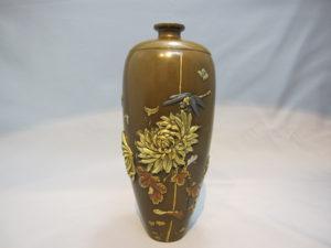 宮部篤良 象嵌菊花にとんぼ図花瓶