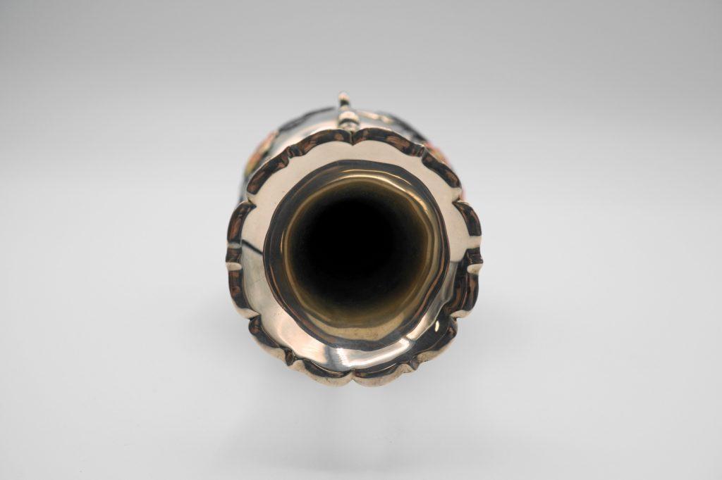 根本製純銀七宝牡丹図花瓶口部分