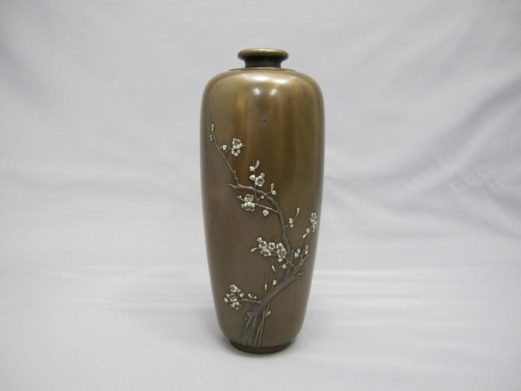 象嵌梅花樹図花瓶