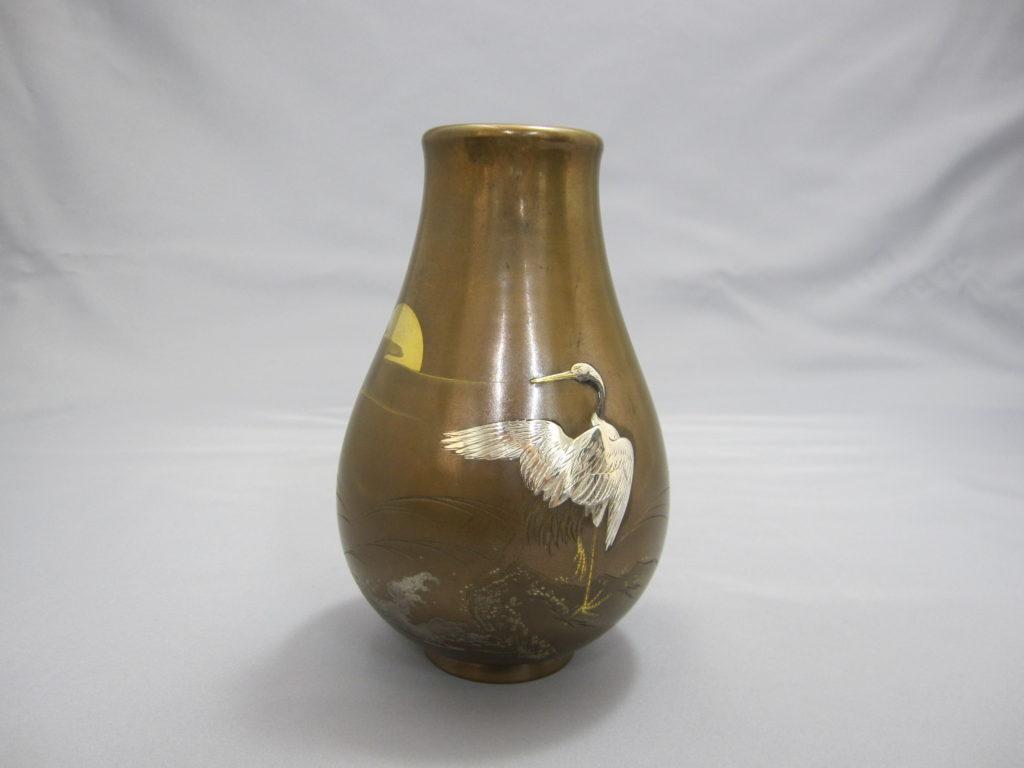 象嵌 朝陽岩上鶴図花瓶 正面