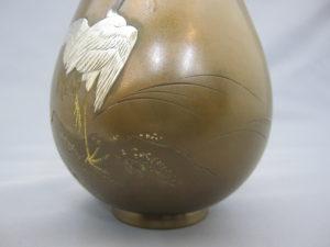 象嵌 朝陽岩上鶴図花瓶 下部