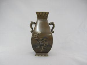 銅 象嵌 四方龍耳花瓶①