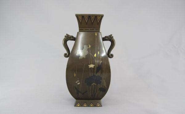 銅 象嵌 四方龍耳花瓶②