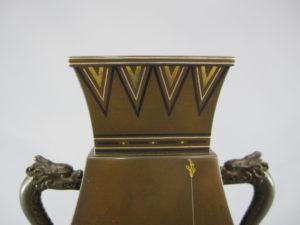 銅 象嵌 四方龍耳花瓶上部