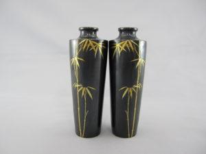 能川製 赤銅象嵌竹図 小花瓶一対