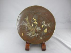 宮部篤良 象嵌 琴高仙人図飾皿