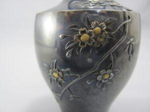 能川製赤銅地桜花図蓋付小壷