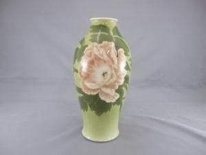 初代 真葛香山 釉可下彩牡丹図花瓶