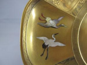 芝山蒔絵囲碁図輪花皿輪花部分図柄④