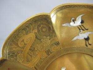 芝山蒔絵囲碁図輪花皿輪花部分図柄⑤