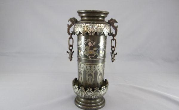 金澤銅器会社製 象嵌 双耳花瓶1面
