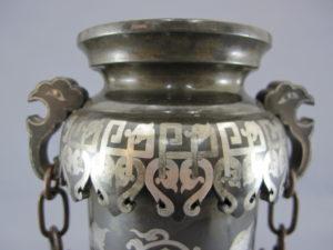金澤銅器会社製 象嵌 双耳花瓶上部