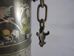 金澤銅器会社製 象嵌 双耳花瓶耳飾部分