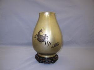 桂光春 蟹図花瓶