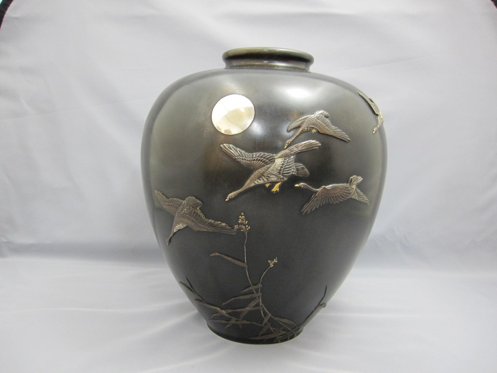 在粟田幸治 象嵌 月に雁図花瓶 その1