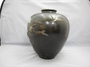 在粟田幸治 象嵌 月に雁図花瓶 その2