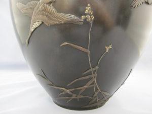 在粟田幸治 象嵌 月に雁図花瓶 図柄拡大