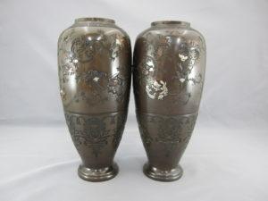 象嵌龍鳳丸紋図花瓶一対その3