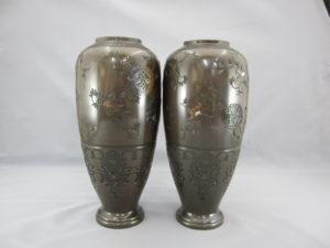 象嵌龍鳳丸紋図花瓶一対その2