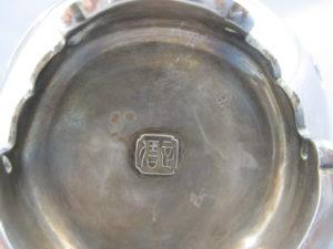 銀七宝象嵌鴛鴦図双耳花瓶銘