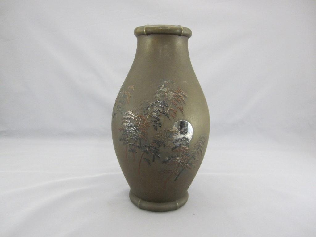 能川製 象嵌月下に松林図花瓶その1