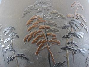 能川製 象嵌月下に松林図花瓶 松林図拡大