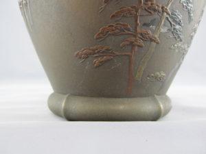 能川製 象嵌月下に松林図花瓶 下部