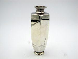 銀 遊鯉図六角花瓶4面
