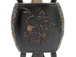 象嵌 雉子図変形双耳花瓶(草花柄)その1