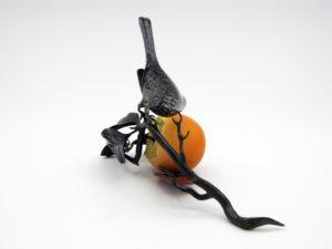 柿と小禽 置物その5