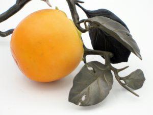 柿と小禽 置物 拡大その2