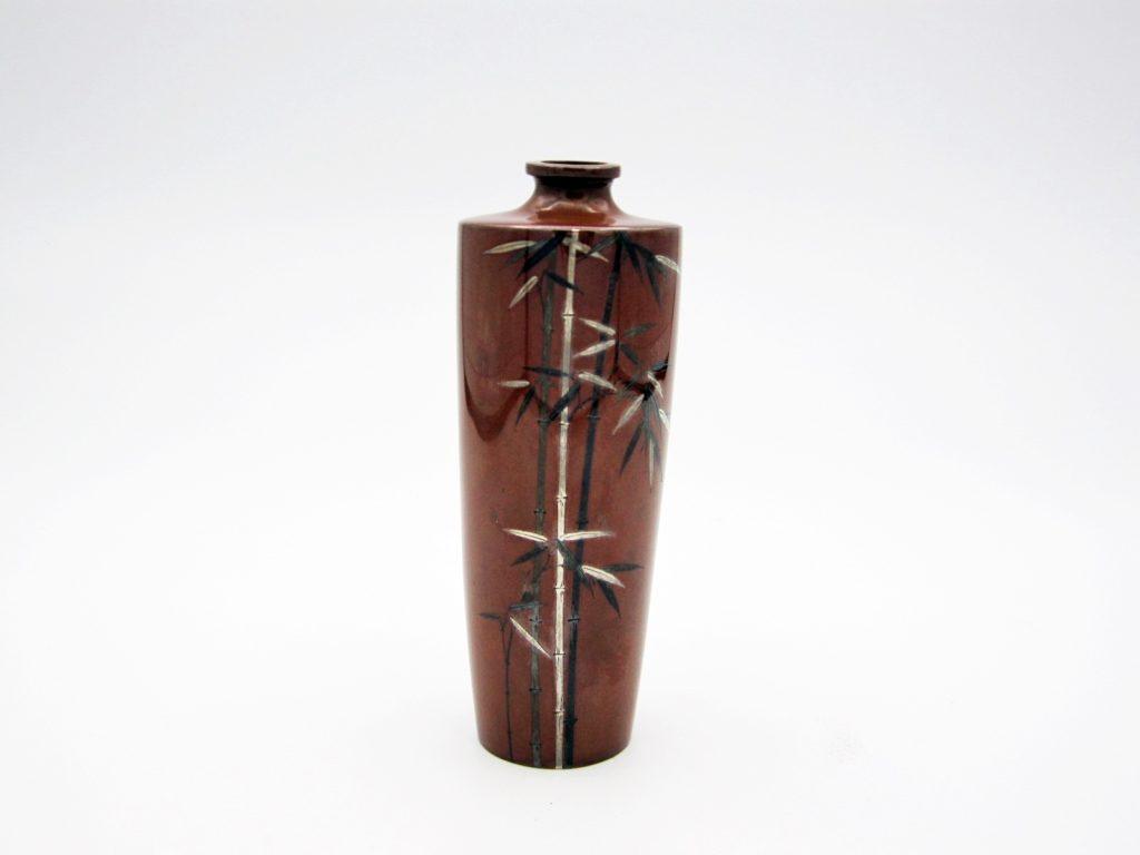 能川製象嵌竹図小花瓶