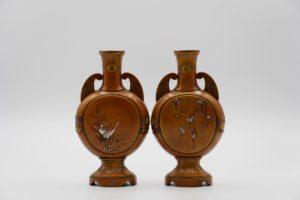能川製象嵌花鳥風月図双耳変形花瓶