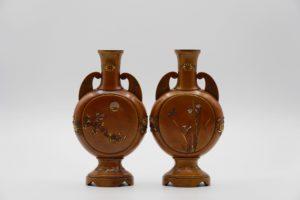 象嵌花鳥風月図双耳変形花瓶(その2)