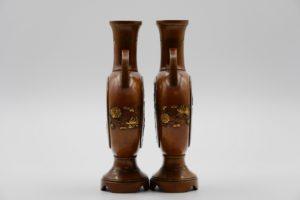 能川製象嵌花鳥風月図双耳変形花瓶側面