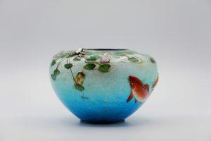 粂野締太郎七宝水面図花瓶②