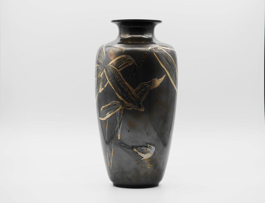 四分一地象嵌 笹に鶺鴒図花瓶
