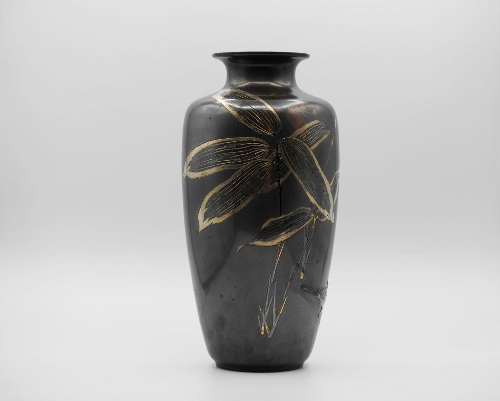 四分一地象嵌 笹に鶺鴒図花瓶(その2)