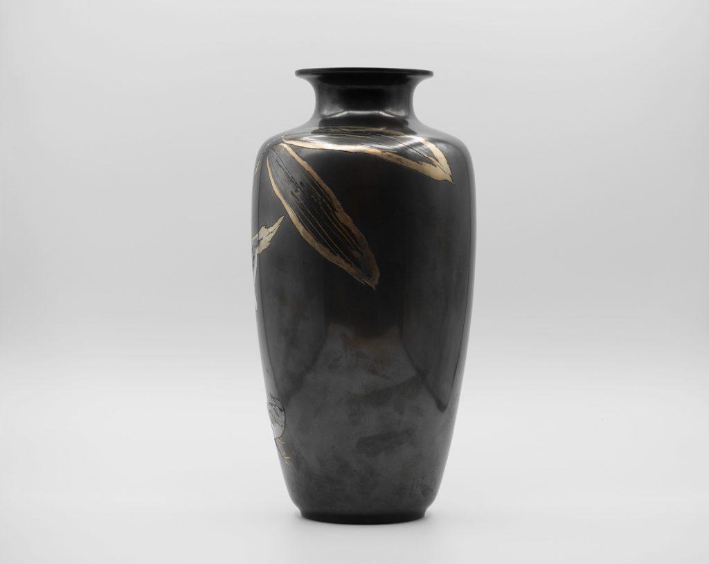 四分一地象嵌 笹に鶺鴒図花瓶(その3)